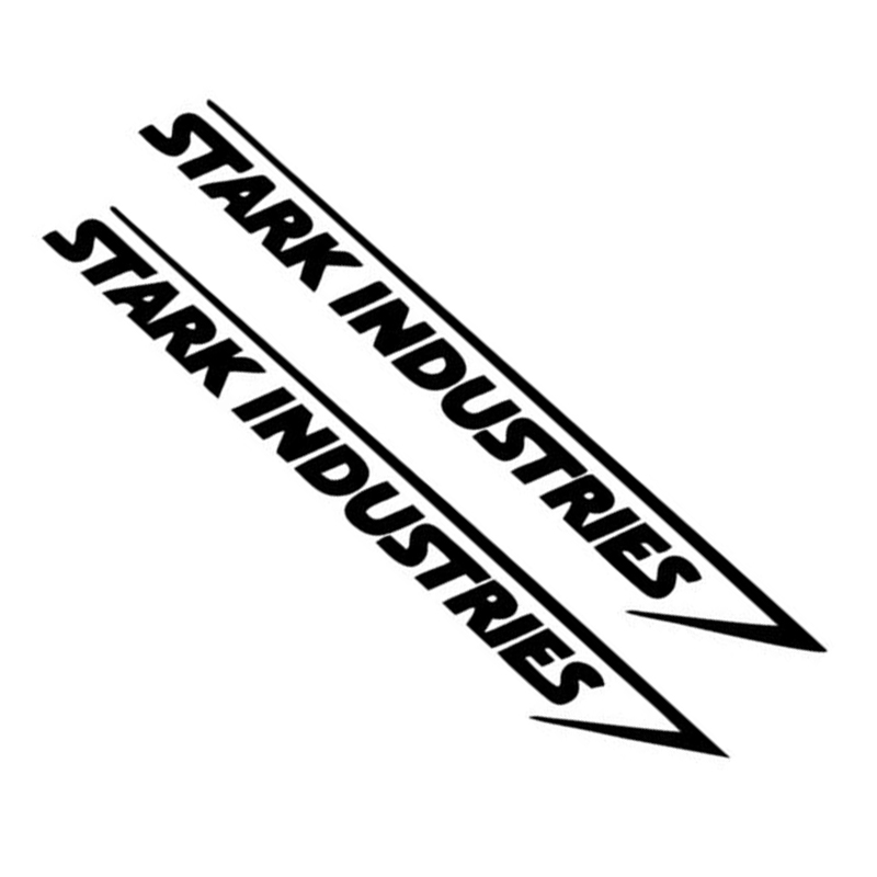 2Pcs Stark Industries Car Sport Racing Body Stripes Stickers Vinyl Decals Black White Car Exterior Decoration Easy To Use
