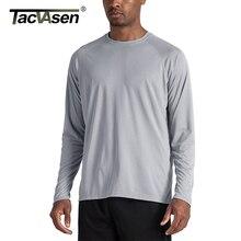 Мужская футболка с защитой от солнца TACVASEN, летняя футболка с длинным рукавом UPF 50 +, быстросохнущая дышащая футболка с УФ защитой для походов и рыб