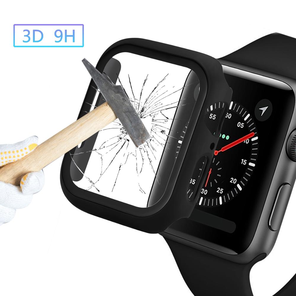 Bumper for apple watch series 5 3 4 PC case slim fit case for iWatch 5 4 3 thin protector plastic black frame 40 44 38 42mm band image