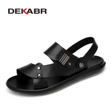 DEKABR 2021 새로운 도착 패션 여름 정품 가죽 비치 남자 신발 고품질 가죽 플립 플롭 남자 샌들 크기 38 45