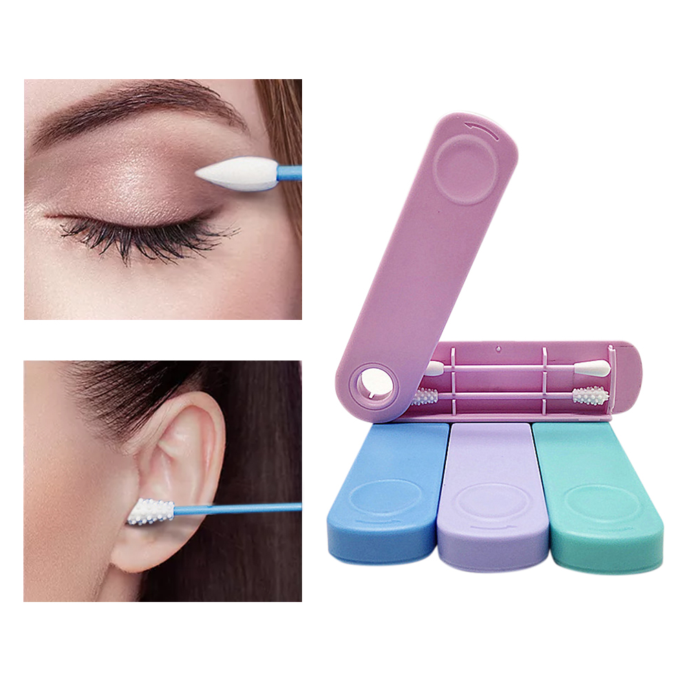 2Pcs/box Reusable Cotton Swab Double headed Face Ear Cleaning Makeup Cosmetic Removal Washable Portable Silicone Buds Swabs Tool