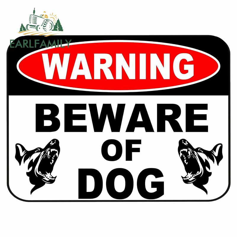 EARLFAMILY 13 см x 9,7 см предупреждение Остерегайтесь собаки знак безопасности атака животных забор двора наклейка на заказ автомобильные наклейк...