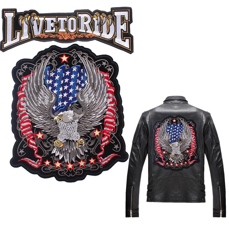 Kartal nakış yamalar büyük Biker yamalar giysileri Punk büyük kafatası rozetleri işlemeli yama ceket ceket aksesuarları şerit