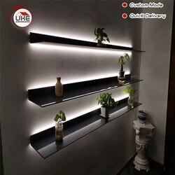 UKE Italien Minimalistischen Wand Montiert LED Licht display regal mit licht L Form für wohnzimmer, küche, studie zimmer