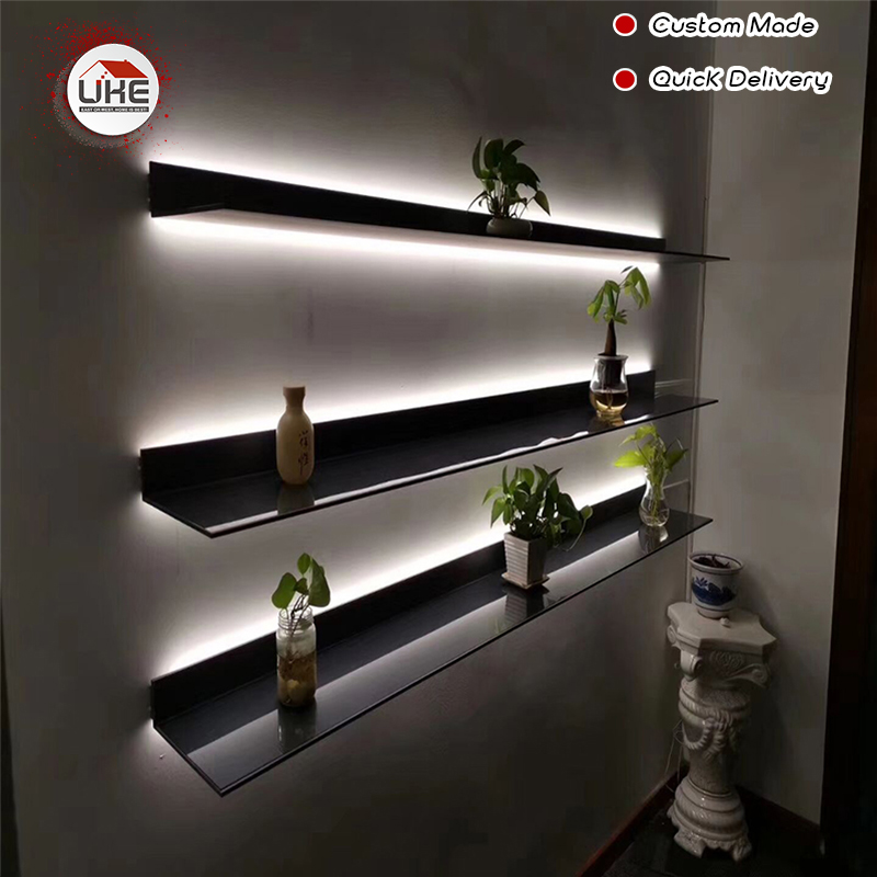 UKE Italy Minimalist Wall Mounted LED Light Display Shelf With Light L Shape For Living Room, Kitchen,study Room