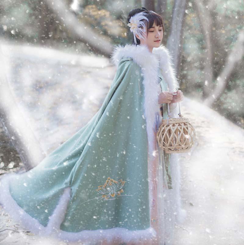 Women Hanfu Cloak Chinese Traditional Winter Warm Green Hooded Cloak Cape Hanfu Female Carnival Cosplay Costume Gift For Women