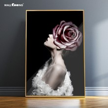 Decorative paintings Canvas portrait Separate vertical poster modern style Abstract beauty art mural