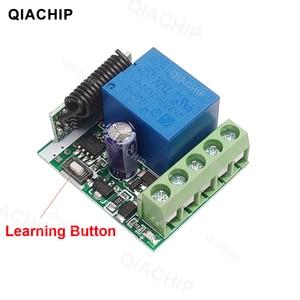 Image 2 - QIACHP 433 Mhz Interruptor de Controle Remoto Sem Fio Universal DC 12 V 1CH Relé Módulo Receptor + Transmissor RF 433 Mhz controles remotos