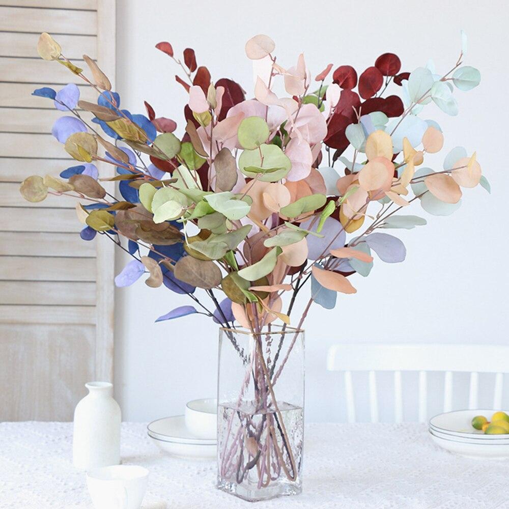 Искусственные розовые цветы эвкалипта, букет растений, длинный пластиковый шест, шелковые искусственные растения, реквизит для стрельбы, д...