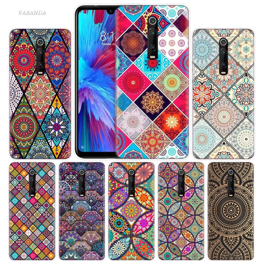 Flowers Mandala Case For Xiaomi Redmi Note 8T 8 7 9S K20 K30 Pro 7A Mi CC9 10 9T 9 A3 Lite F2 X2 TPU Phone Coque Tampa