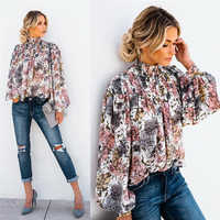 Hohe Kragen Bluse Mode Damen Floral Langarm Casual Shirt Top Lose Laterne Hülse Gedruckt Schildkröte Neck Bluse Shirt Top