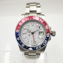 GMT 40mm Meteorite dial Sapphire Glass Ceramic Bezel Date Luminous Automatic Movement men's Watch цена и фото