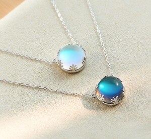 LEKANI Aurora Anhänger Halskette Halo Kristall Edelstein S925 Sterling Silber Mode Halskette frauen Elegante Jahrestag Geschenk