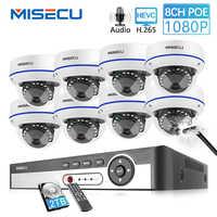 Kit de NVR Poe MISECU 8CH 1080P cámara de seguridad 2,8mm len CCTV sistema de grabación de Audio interior cámara domo IP P2P videovigilancia
