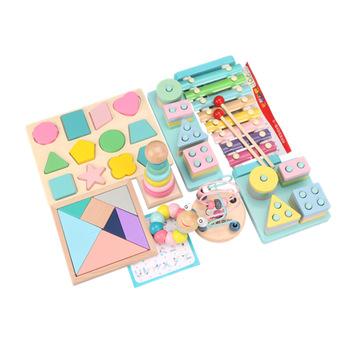 Montessori Kids Toys kolorowe drewniane bloczki Baby grzechotki muzyczne graficzne poznanie wczesne zabawki edukacyjne na prezenty dla dzieci tanie i dobre opinie none Drewna 8 ~ 13 Lat 14Y 5-7 lat 2-4 lat Dorośli Zwierzęta i Natura Sport hh521