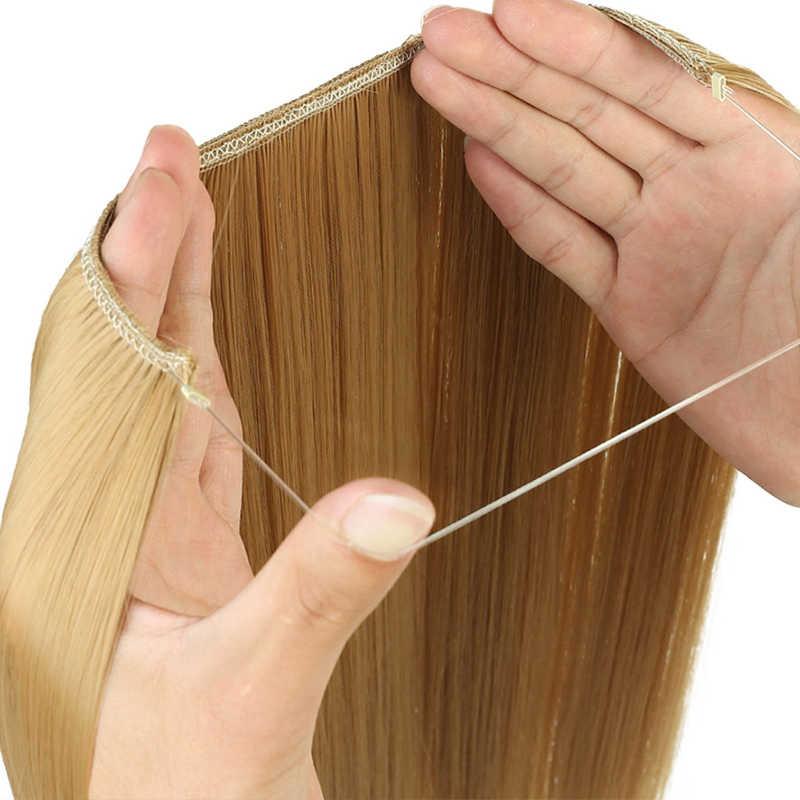 24 Inci Panjang Bergelombang Tak Terlihat Ekstensi Rambut Rahasia Kawat Ikan Line Sintetis Hairpieces Nyata Tahan Panas Alami Lupu Wig
