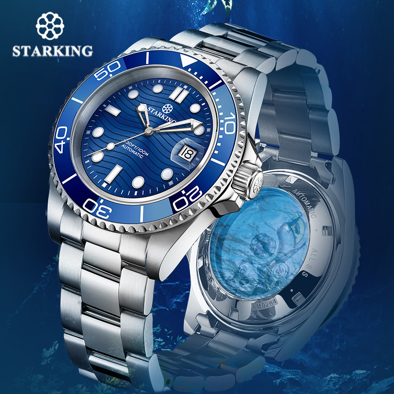 STARKING Automatic Watch Men 40mm Green Water Ghost Watch Japan Movt Mechanical Wrist Watches 100M Waterproof Relogio