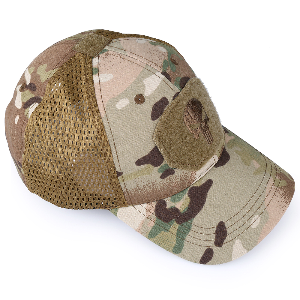 Skull Tactical Military Airsoft Cap Adjustable Breathable Sun Visor Trucker Hat Mesh Hunting Hiking Baseball Skeleton Snapback 33