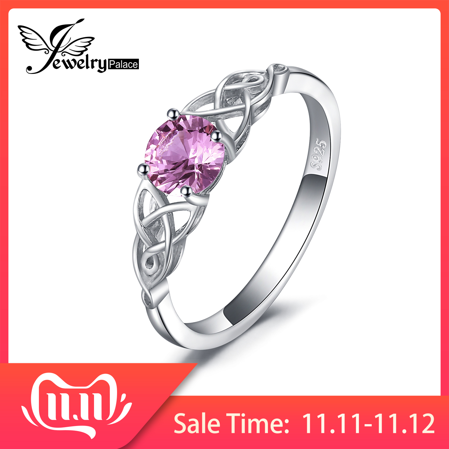 JewePalace Celtic Knot Created Pink Sapphire Ring 925 Sterling Silver Rings For Women Promise Engagement Ring Silver 925 Jewelry