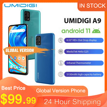 Orijinal UMIDIGI A9 küresel sürüm Android 11 3GB 64GB 13MP AI üçlü kamera Helio G25 Octa çekirdek 6.53