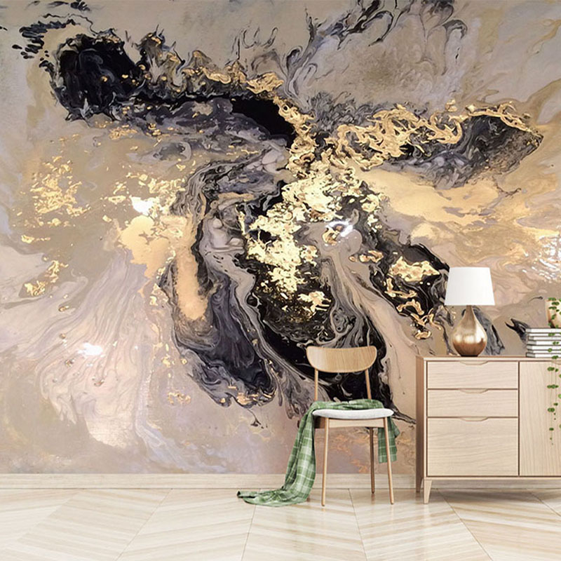 Custom Any Size Mural Wallpaper 3D Abstract Golden Landscape Splashing Ink Wall Painting Living Room Study Creative Wall Papers