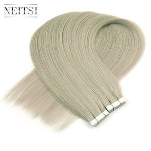 Image 3 - Neitsi Skin Weft Adhesive Hair None Remy Tape In Human Hair Extensions Grey# Color Straight Double Side Tape Hair 20pcs 40pcs