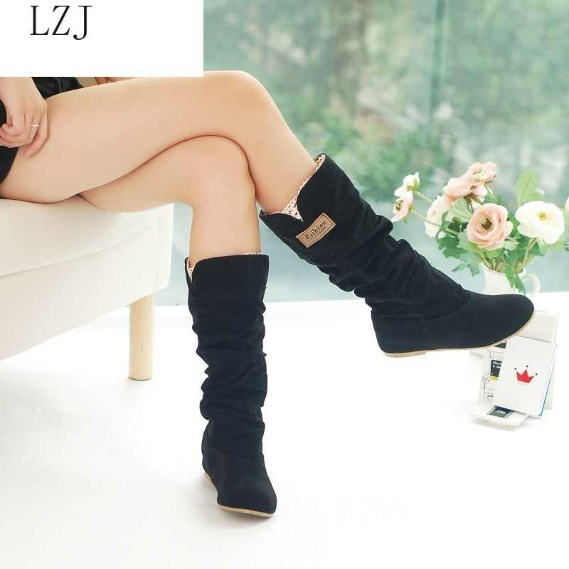 LZJ 2019 New Fashion Women Boots Spring Winter Black and Brown Boots Fashion Shoes Flats Quality Suede Long Boots Women Shoes