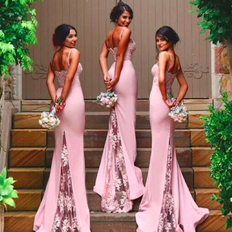 New Mermaid Vestido De Noiva Prom Gown Sweetheart Robe De Soiree Off Shoulder Lace Appliques 2018 Bridesmaid Dresses