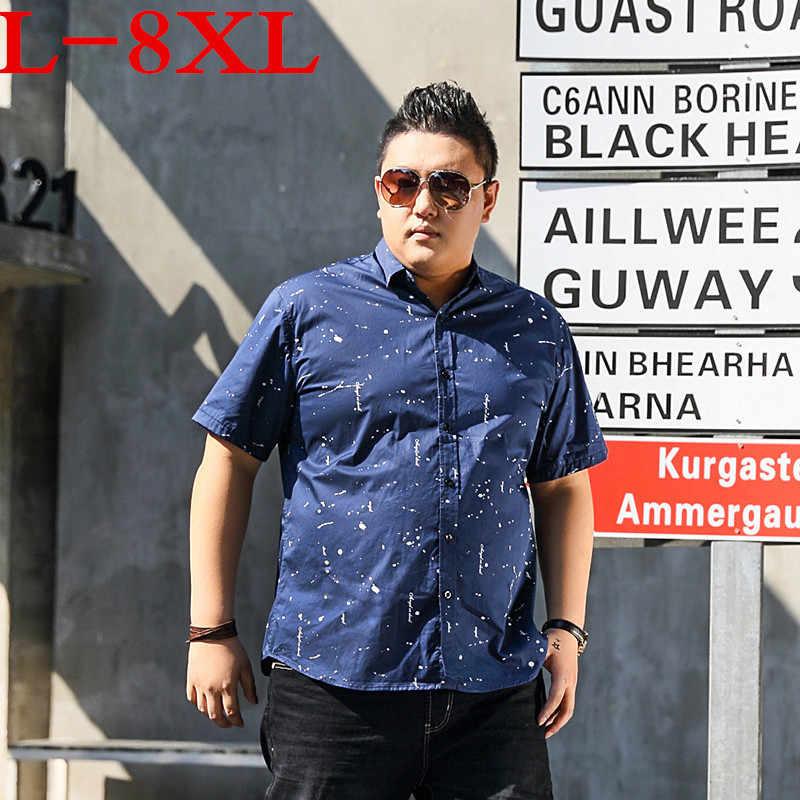 Plus Ukuran 9XL 8XL 7XL 6XL 5XL Baru Fashion Pria Lengan Pendek Kemeja Hawaii Musim Panas Kasual Bunga Kemeja untuk Pria besar Besar