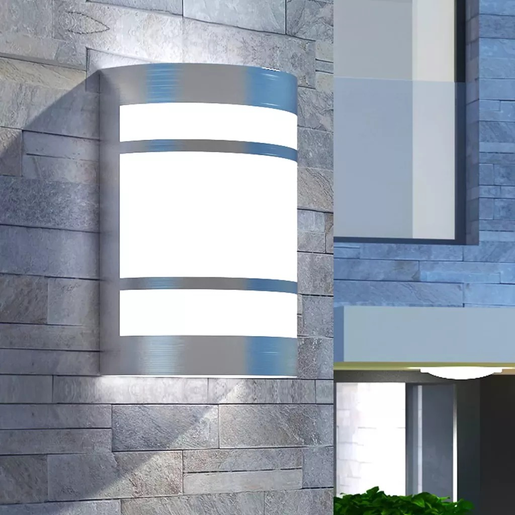 VidaXL Outdoor Wall Light Stainless Steel 14 X 10.5 X 16.5 Cm Stylish Outdoor Wall Lamp With Glass Diffuser Weatherproof Light