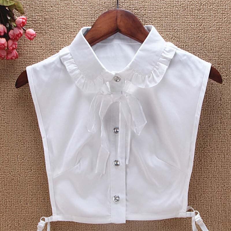 2020 Spring Bud Ribbon Fake Collar Tie New Ladies Shawl White Wooden Ear Collar Chiffon Fake Collar New Dress Accessories