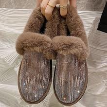 Women Flats Loafers Hairy-Shoes Heel Crystals Aphixta Female Winter Luxury Zapatillas