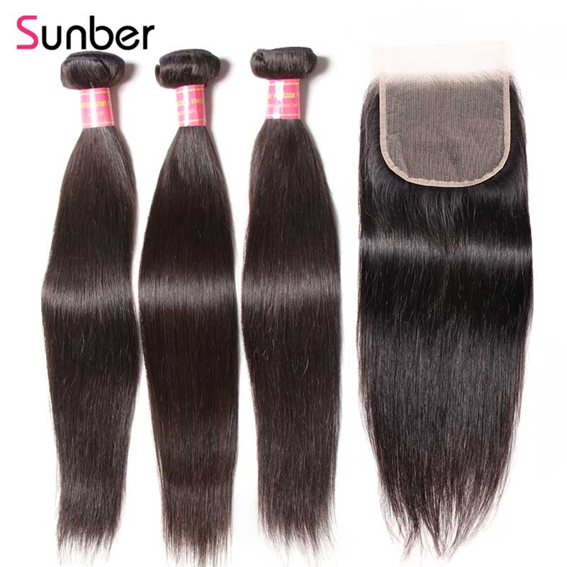Sunber Hair Peruvian Straight Bundles with Closure 100% Human Remy Hair Bundles with 5x5 Transparent Lace Closures Hair