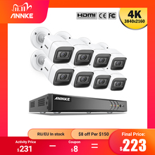 ANNKE 4K Ultra HD 8CH DVR Kit H.265 CCTV Camera Security System 8MP CCTV System IR Outdoor Night Vision Video Surveillance Kits