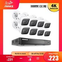 ANNKE 4K Ultra HD 8CH zestaw DVR H.265 kamera telewizji przemysłowej System bezpieczeństwa 8MP System CCTV IR odkryty noktowizor zestawy nadzoru wideo