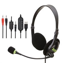 Wired Stereo Headphone USB/3.5mm Interface Gaming Headset Computer PC with Mic X6HA blueskysea 3pcs lot usb stereo headset earphone telephone headphone with mic for computer laptop