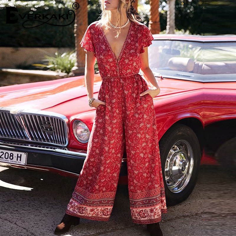 Everkaki Boho Floral Print Rompers Jumpsuits Women Autumn Adjustable Sashes V Neck Buttons Ladies Jumpsuits Rompers Female 2019