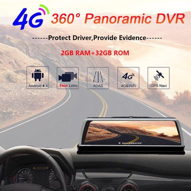 """WHEXUNE 2019 nouvelle voiture DVR Dashcam 4G 4 canaux ADAS Android 10 """"console centrale miroir GPS WiFi FHD 1080P arrière lentille enregistreur vidéo"""