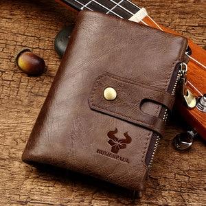 Image 5 - HUMERPAUL Genuine Leather Men Wallet Coin Purse Small Mini rfid Card Holder PORTFOLIO Portomonee Male Pocket Hot Sale