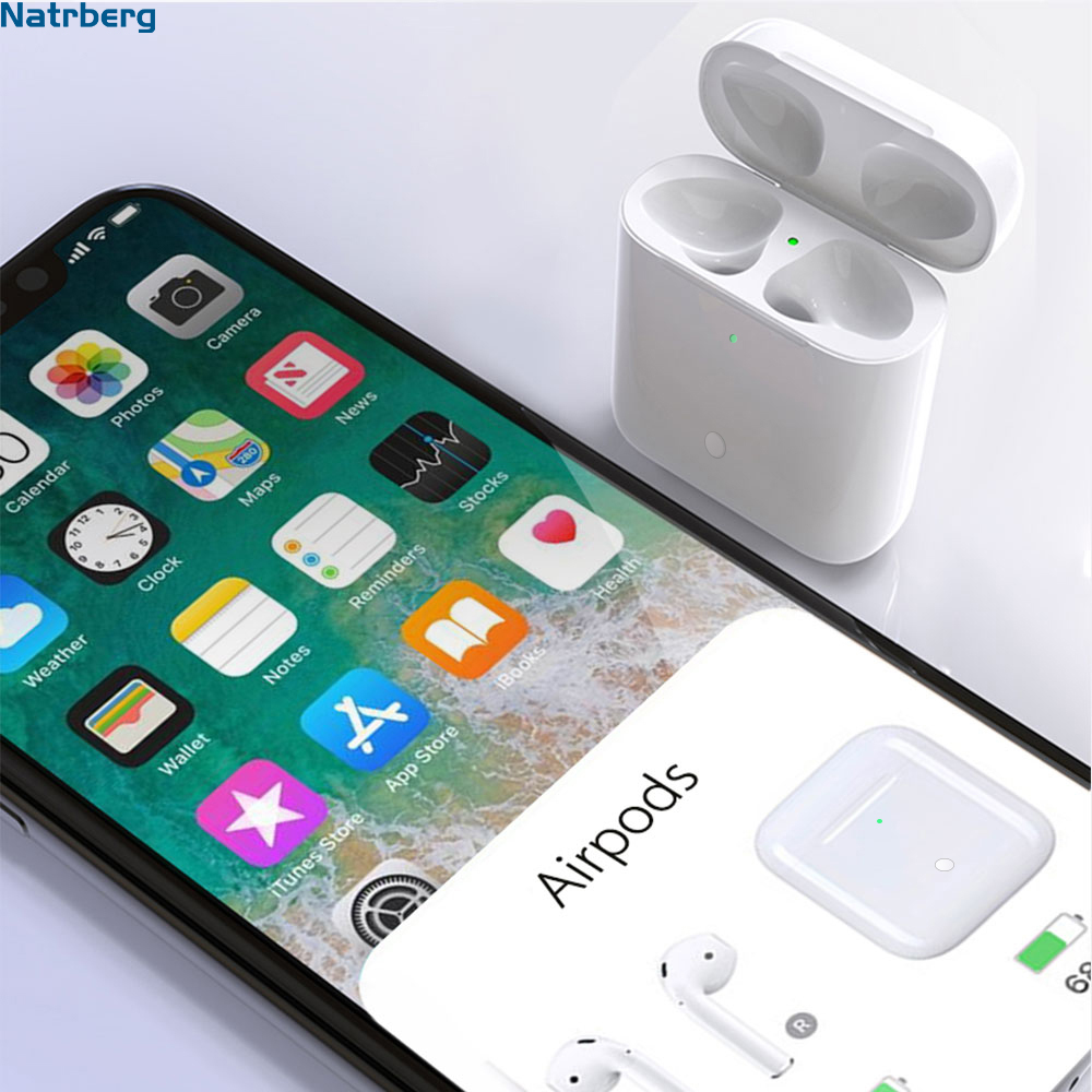 Qi Wireless Charging Case Replacement For <font><b>Airpods</b></font> 450Mah Bluetooth Charge With Pairing <font><b>Pop</b></font> <font><b>up</b></font> Windows for <font><b>Airpods</b></font> Pod Pods 1 2 image