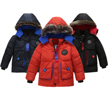 Boys Jacket Outerwear Hooded Kids Clothes Fashion-Style Autumn Winter Thicken 2-5-Years-Old