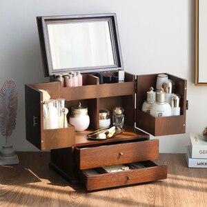 Image 5 - 2020 caixas de jóias de madeira grande capacidade de madeira maciça jóias brinco caso de armazenamento do agregado familiar princesa caixas de jóias estilo europeu