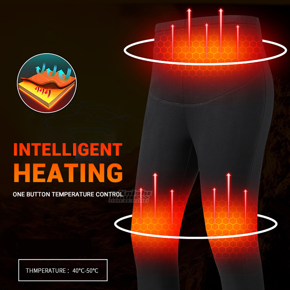 cheapest Winter Heated Underwear USB Battery Powered Fleece Thermal Heating Motorcycle Jacket Moto Long Johns Pants Electric Suit Men