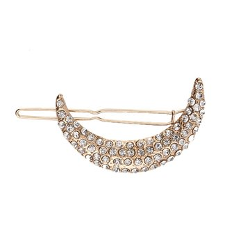 New Women Fashion Chic Crystal Moon Rhinestone Hair Clip Headband Hairpin Clamps Shining Gold/Sliver Hot