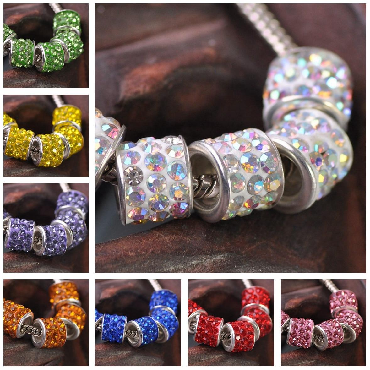 10pcs Alloy Rhinestones Big Hole Beads Fit European Charm Bracelet DIY Findings