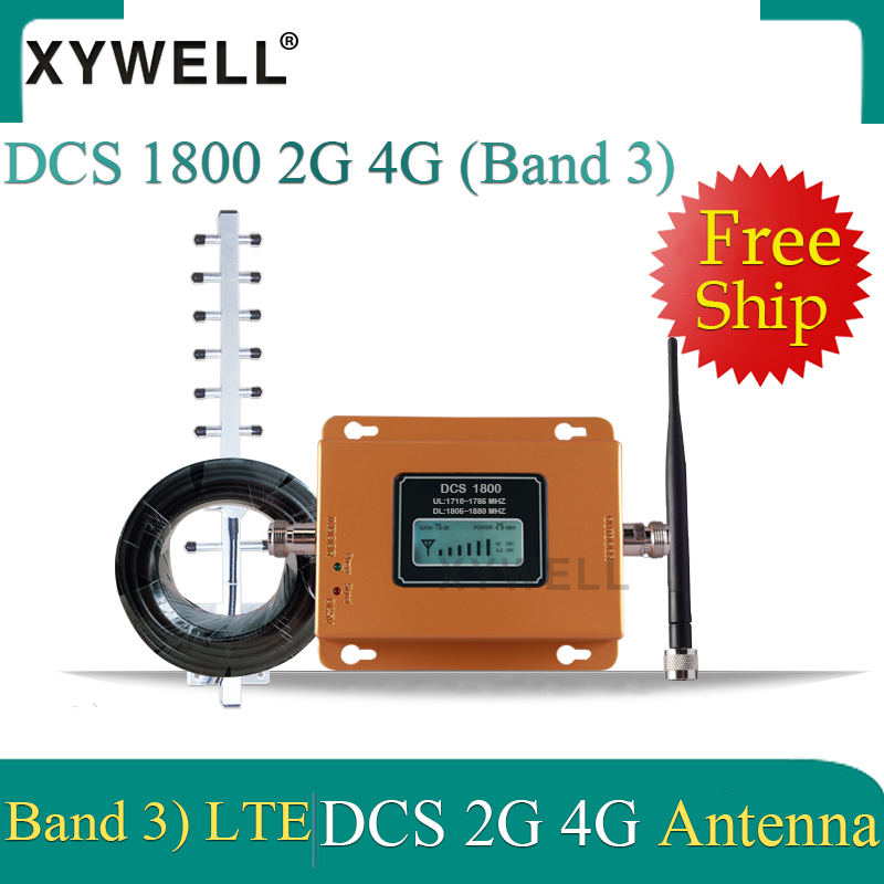 75dB Gain LTE 1800MHZ Cellular Signal Booster 4G Signal Booster DCS 1800Mhz 2G Cellphone Cellular GSM 1800 + Yagi Antenna