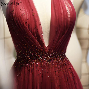 Image 3 - Red Halter Sexy Sleeveless Evening Dresses 2020 Crystal A Line Tulle Formal Dress Design Serene Hill LA70348