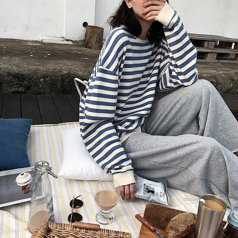 Sweat à capuche en coton à rayures gothiques pour femme, vêtement à manches longues, ample, Kawaii, coréen, fin, Harajuku, automne 2021 3