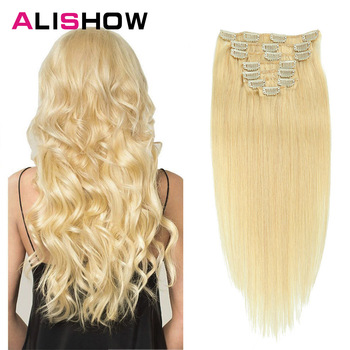 цена на Alishow 120g Clip in hair extensions 100% Natural Hair Brazilian Straight Machine Remy Weft Human Hair Clips