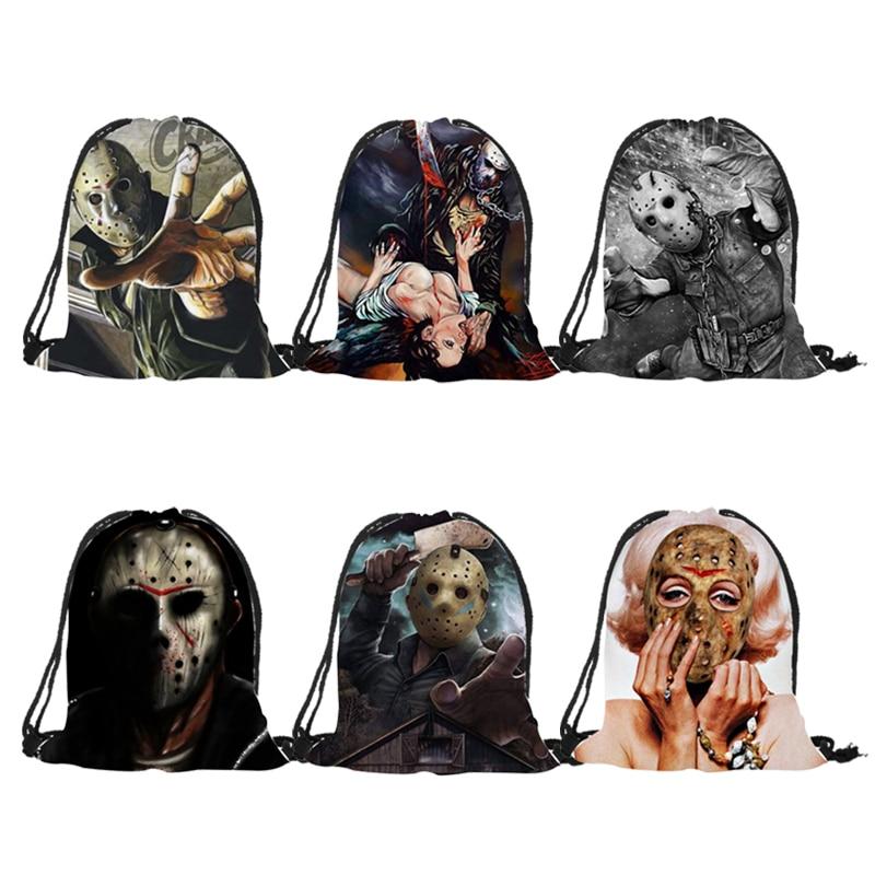 Unisex Polyester Backpack 3D Printing Horror Movie Freddy Jadon Drawstring Bag Useful Shoulder Bags Halloween Decoration